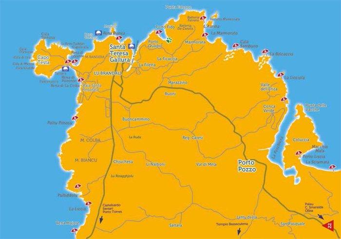 Cartina Fisica Sardegna Da Stampare.Spiagge Santa Teresa Gallura E Capo Testa