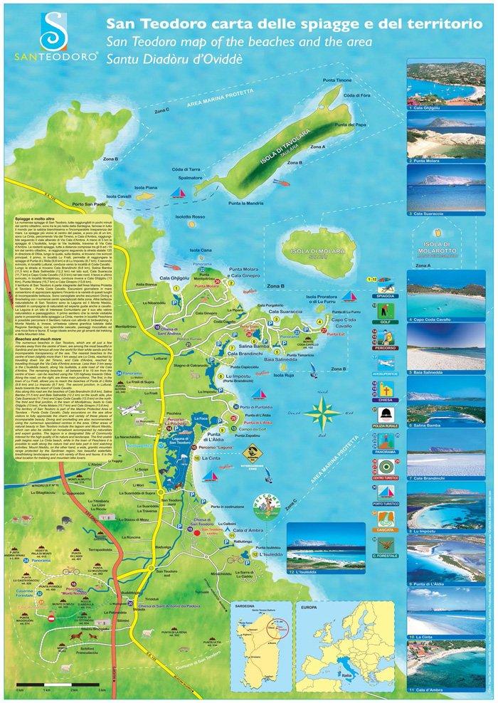 Cartina Sardegna Con Hotel.Spiagge San Teodoro Mappa Delle Piu Belle Attrezzate E Non