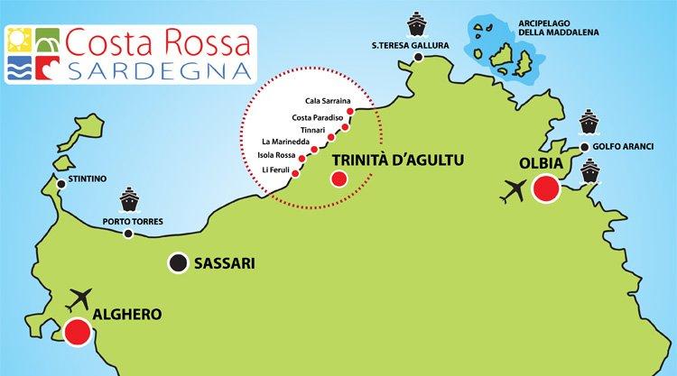 Mappa Km Sardegna.Spiagge Costa Paradiso E Costa Rossa Sardegna