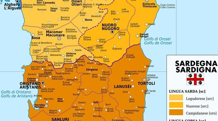 Cartina Sardegna Del Sud.Cartina Linguistica Sardegna