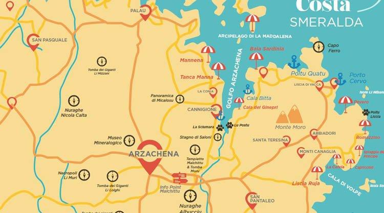 Mappa Km Sardegna.Cartina Delle Spiagge Piu Belle Della Costa Smeralda