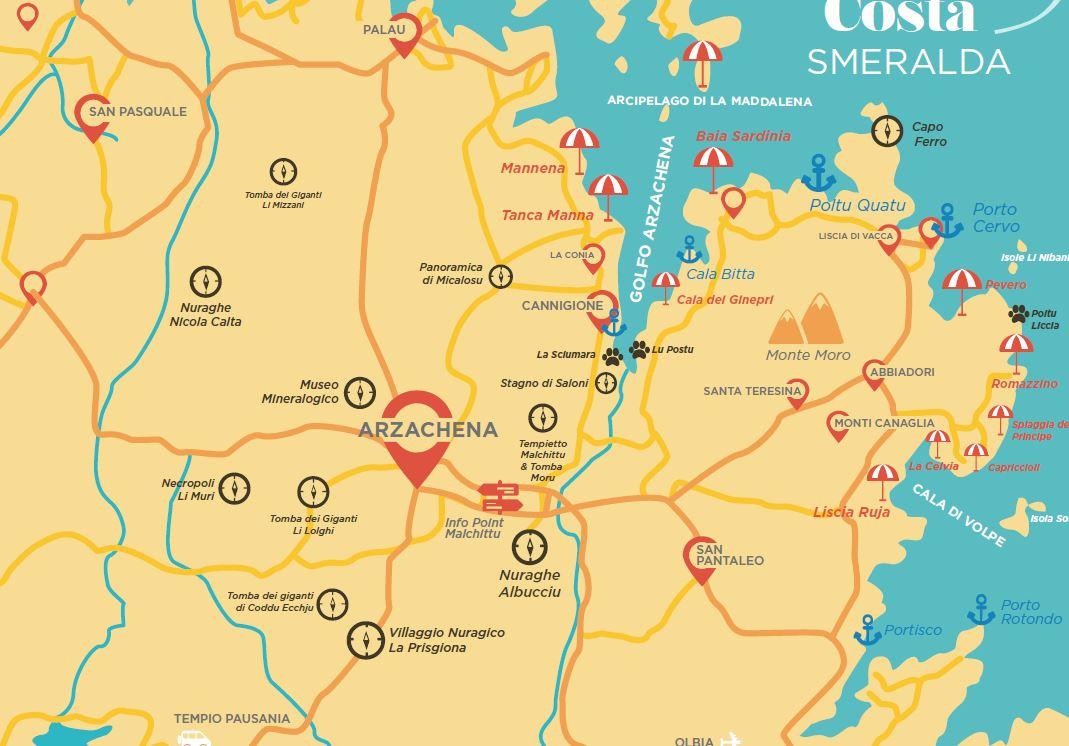 Palau Sardegna Cartina.Cartina Delle Spiagge Piu Belle Della Costa Smeralda Sardegna 2020