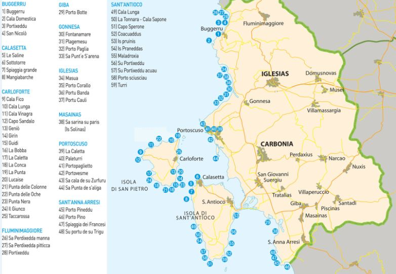 Sud Sardegna Cartina.Cartina Delle Spiagge Del Sulcis Iglesiente