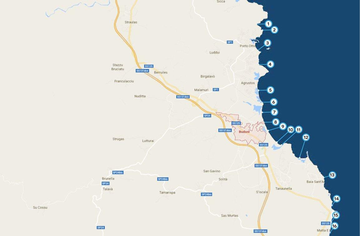 Cartina Sardegna Settentrionale.Spiagge Di Budoni Sardegna Mappe Foto E Servizi Sardegna In Blog 2021