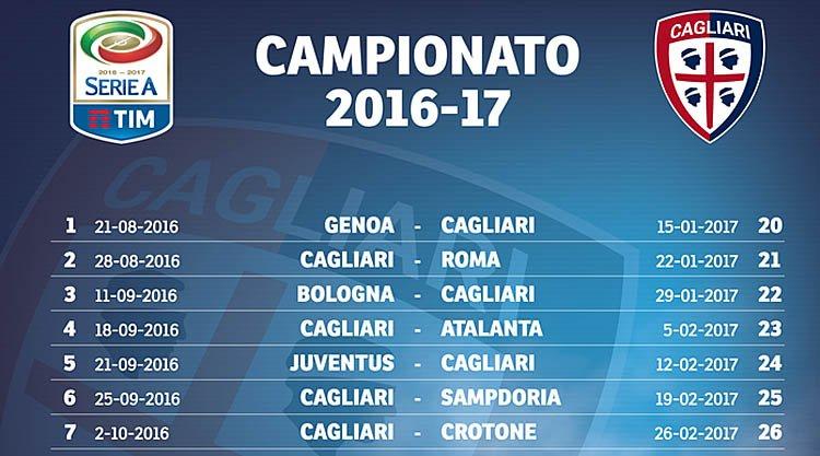 Como Calcio Calendario.Calendario Cagliari Serie A 2016 2017