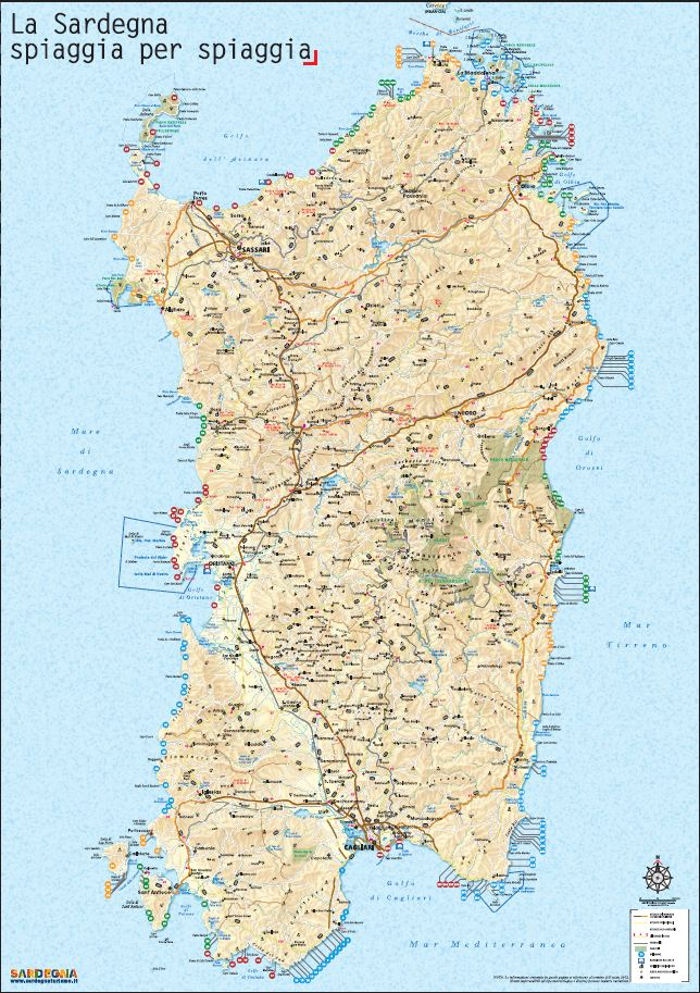 Cartina Stradale Nord Sardegna.Cartina Delle 240 Spiagge Piu Belle Della Sardegna