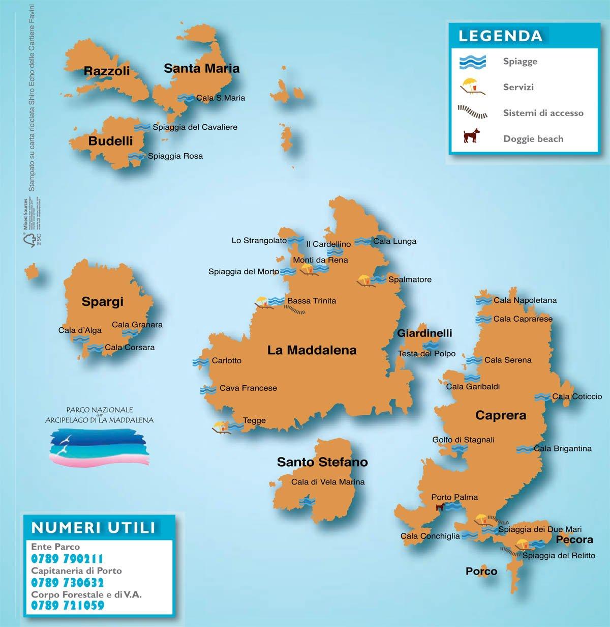 Cartina Fisica Sardegna Da Stampare.Cartina Spiagge La Maddalena E Caprera