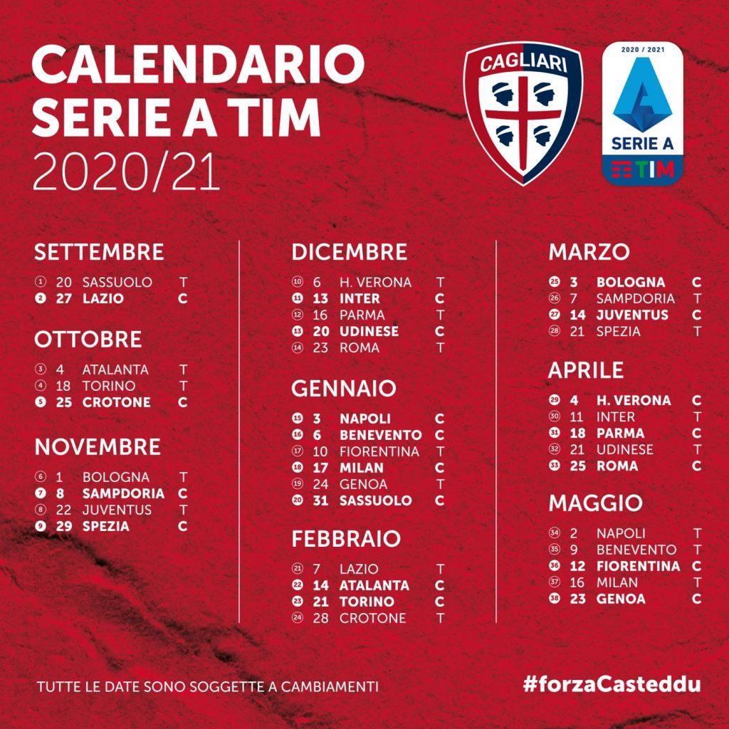 Calendario Cagliari Calcio 2020 21 Tutte Le Partite E I Big Match